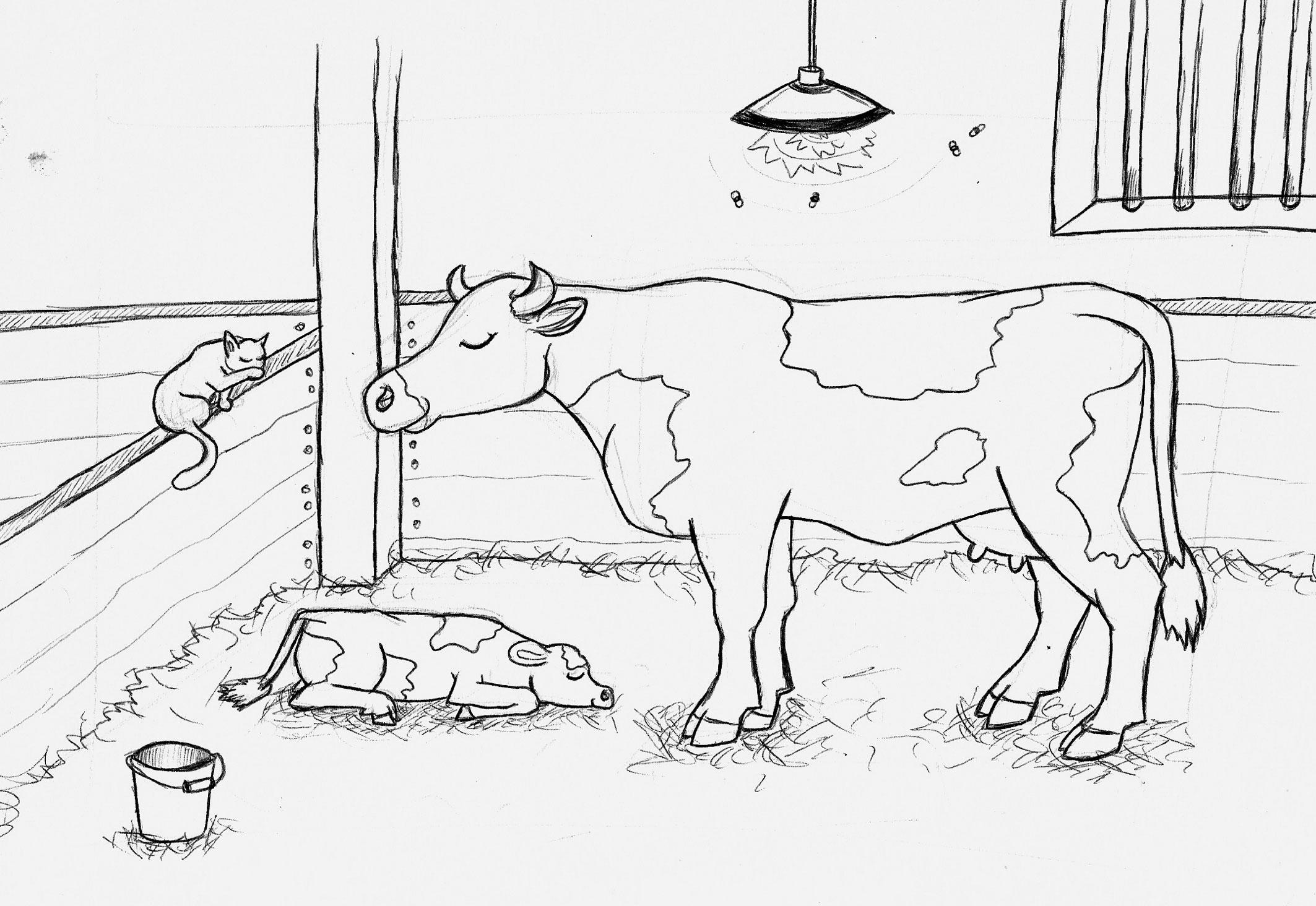 Bauernhof Malbuch Kuh Mit Kind Kleine Viecher